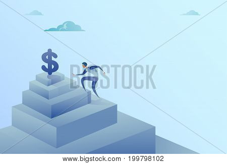 Business Man Climbing Stairs To Dollar Sign Finance Growth Success Concept Flat Vector Illustration