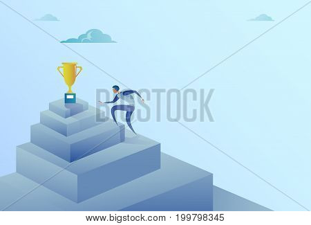 Business Man Climbing Stairs To Winner Cup Success Concept Flat Vector Illustration