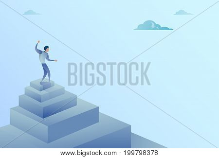 Business Man Standing On Stairs Top Finance Growth Success Concept Flat Vector Illustration