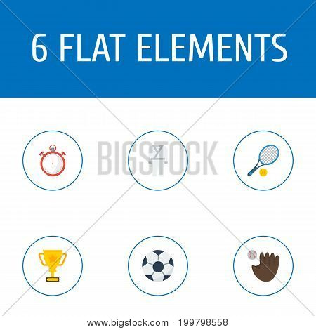 Flat Icons Uniform, Trophy, Ball And Other Vector Elements