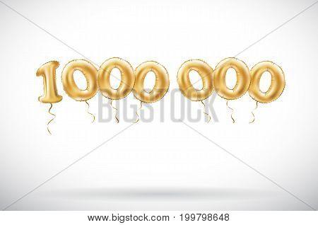 Vector Golden Number 1000000 One Million Metallic Balloon. Party Decoration Golden Balloons. Anniver