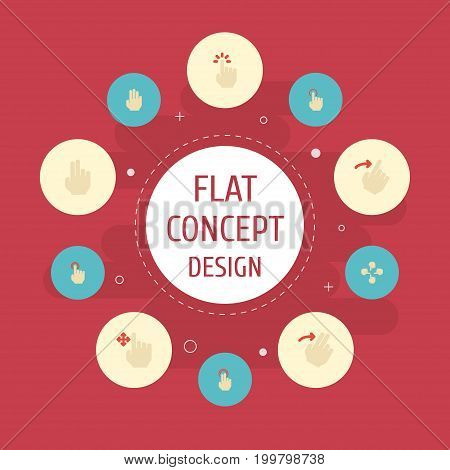Flat Icons Right, Two, Gesture And Other Vector Elements