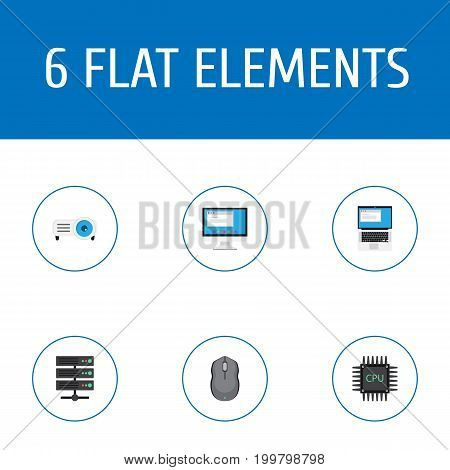 Flat Icons Laptop, Display, Microprocessor And Other Vector Elements
