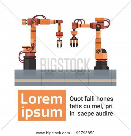 Robotic Hands Automatic Assembly Machinery Industrial Automation Industry Production Flat Vector Illustration