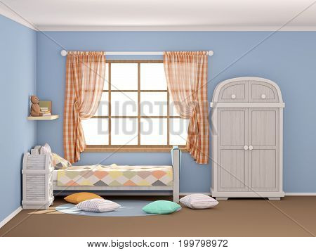 children's room in vintage country style with rhombuses. Flat style 3d illustration