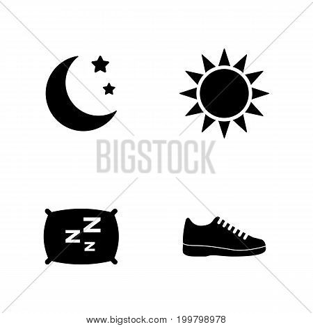 Activity Tracking. Simple Related Vector Icons Set for Video, Mobile Apps, Web Sites, Print Projects and Your Design. Black Flat Illustration on White Background.