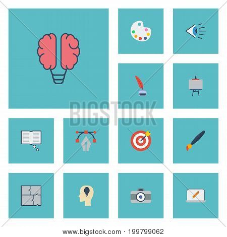 Flat Icons Eye, Brush, Artist And Other Vector Elements