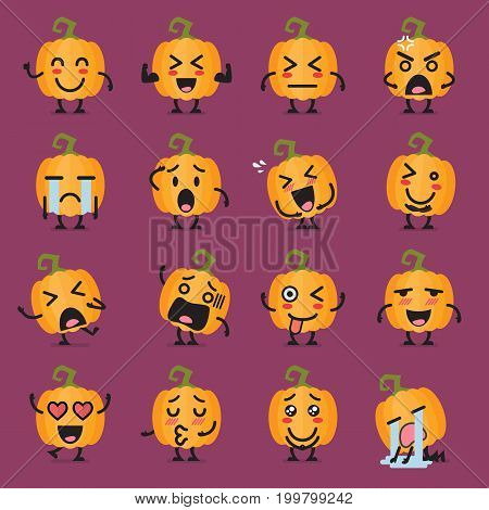 Halloween pumpkin emoji set. Funny cartoon emoticons