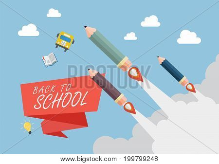Pencil rockets fly into the sky. Back to school concept