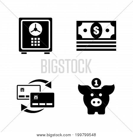 Financial. Simple Related Vector Icons Set for Video, Mobile Apps, Web Sites, Print Projects and Your Design. Black Flat Illustration on White Background.