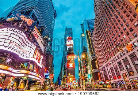NEW YORK CITY, USA - MAY 14, 2012: Times square in Manhattan at twilight.