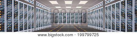 Data Center Room Hosting Server Computer Information Database Synchronize Technology Flat Vector Illustration