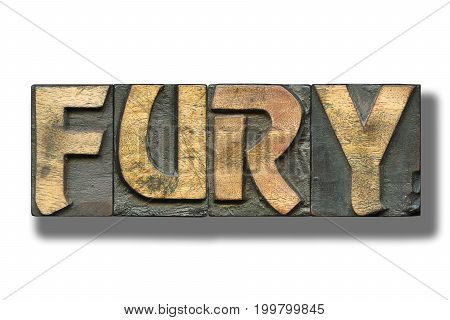 fury word made from vintage letterpress blocks on white with shadow poster