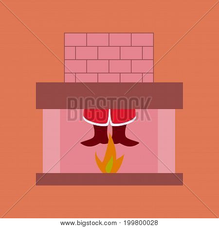 flat illustration on stylish background of Santa Claus in fireplace