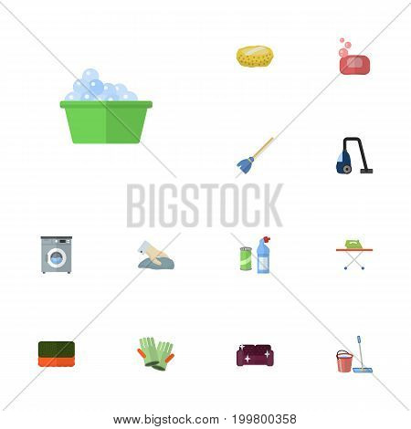 Flat Icons Wisp, Besom, Towel And Other Vector Elements