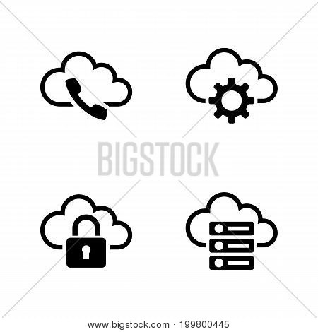 Cloud Settings. Simple Related Vector Icons Set for Video, Mobile Apps, Web Sites, Print Projects and Your Design. Black Flat Illustration on White Background.