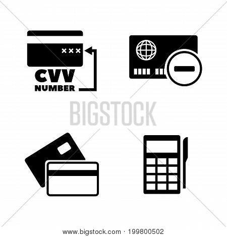 Credit Card. Simple Related Vector Icons Set for Video, Mobile Apps, Web Sites, Print Projects and Your Design. Black Flat Illustration on White Background.