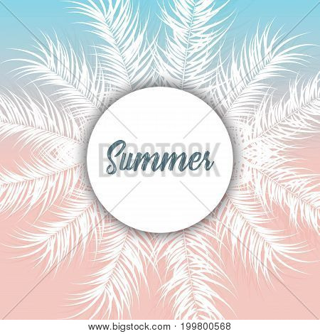 Tropical design with white palm leaves and plants on gradient background with text vector illustration