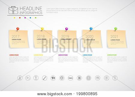 Sticker Set Headline Infographic Business Collection Time Line Planning Copy Space Vector Illustration