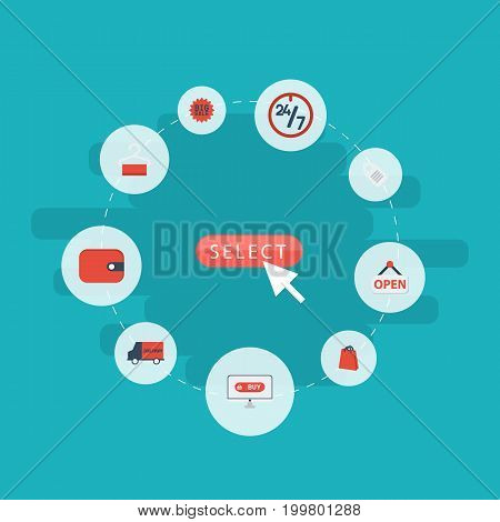 Flat Icons Bus, Label, Big Sale And Other Vector Elements