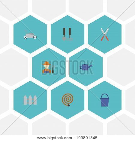 Flat Icons Watering Can, Lawn Mower, Garden Hose And Other Vector Elements