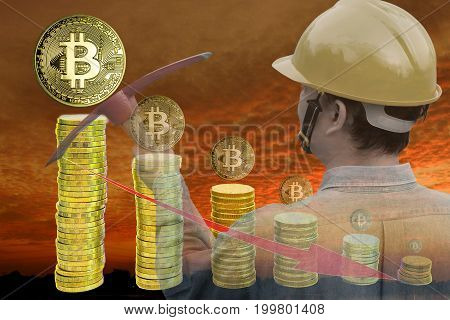 Bitcoin mining concept : Miner holding pickaxes on sunset background with stack of coins. Bitcoins which getting smaller implying lower price. Multiple exposure technique.