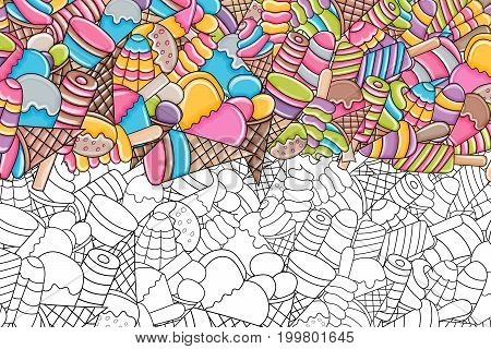 Ice cream cartoon doodle outline design. Cute black and white lineart background concept for party decoration, greeting card,  advertisement, banner, flyer, brochure. Hand drawn vector illustration.