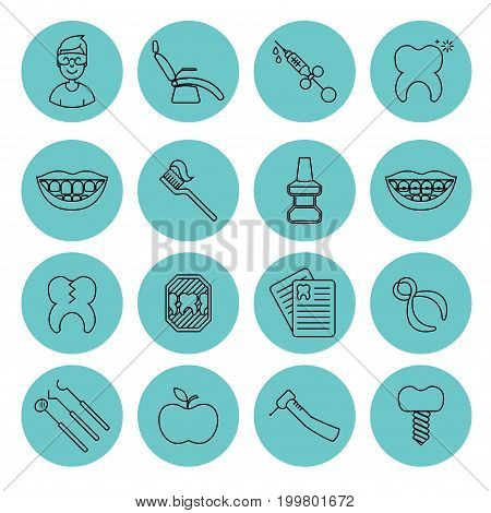 Set of dental outline vector icons. High quality black outline teeth symbols for web site design and mobile apps. Simple dentistry pictograms on a white background.