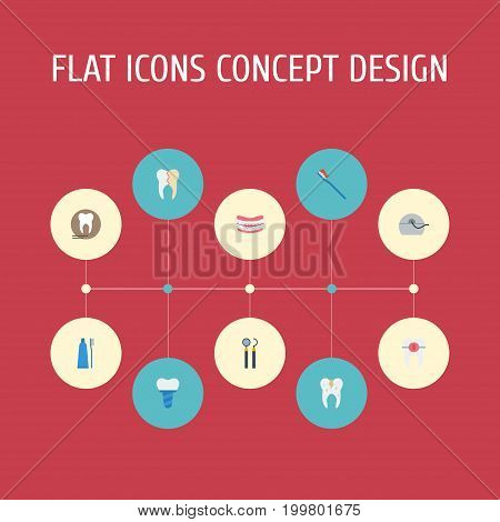 Flat Icons Decay, Implantation, Radiology And Other Vector Elements