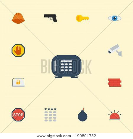 Flat Icons Gun, Vision, Siren And Other Vector Elements