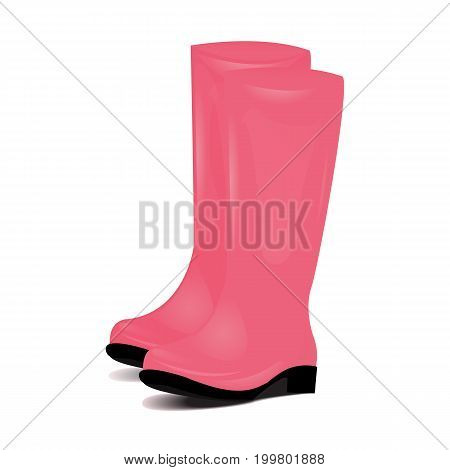 Pair of Pink rubber rain boots. Symbol of garden wok or autumn and weather. Vector illustration Isolated on white background.