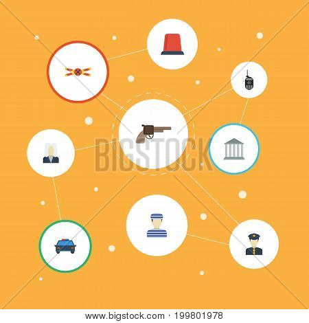 Flat Icons Policeman, Warning Strip, Prisoner And Other Vector Elements