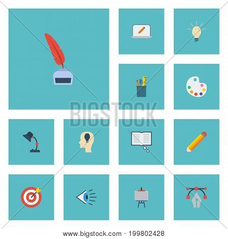 Flat Icons Pencil, Writing, Pen And Other Vector Elements