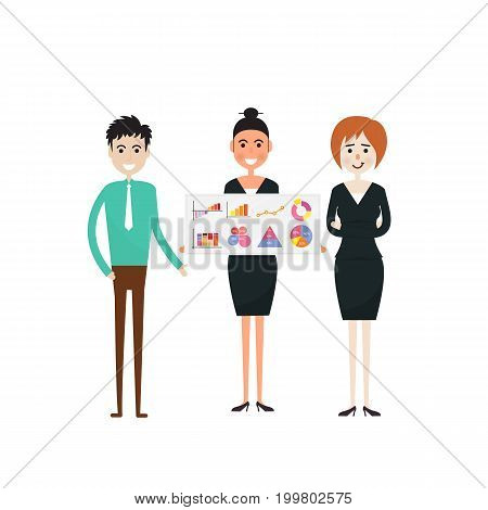 Business people and stock market arrow presentation.Cheerful businessman with graph indicating increase.The concept of business success. Can be used for workflow layout, banner, diagram, number options, step up options, web design, timeline, infographic t