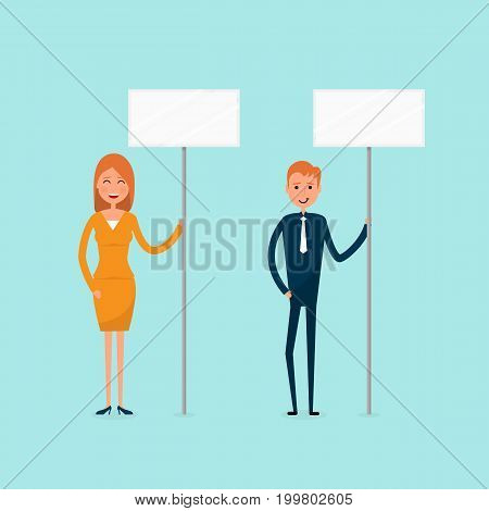 Businessman and businesswoman holding signboard expressing demands and protesting freedom of assembly labour rights of picketing influencing public opinioncopy space.Vector illustration