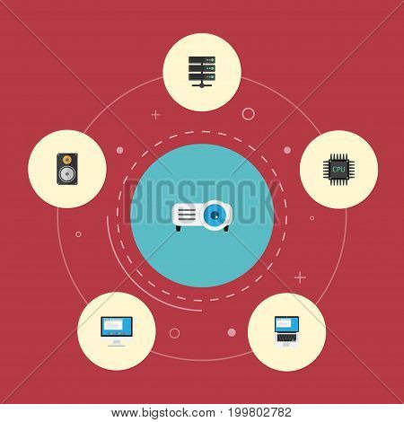 Flat Icons Microprocessor, Amplifier, Presentation And Other Vector Elements