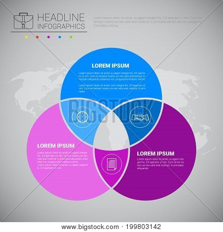 Headline Infographic Design Business Data Graphic Collection Over World Map Presentation Copy Space Vector Illustration