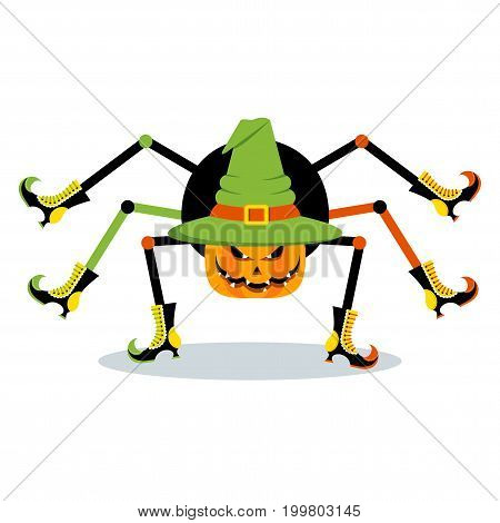 Orange evil spider in a hat with sharp teeth and terrible eyes. Halloween character. Flat vector cartoon illustration. Objects isolated on a white background.