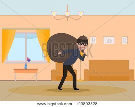 Vector illustration cartoon man thief stealing an apartment. Male in the mask carries a heavy bag with stolen things. The robber robbed the house. Flat style.