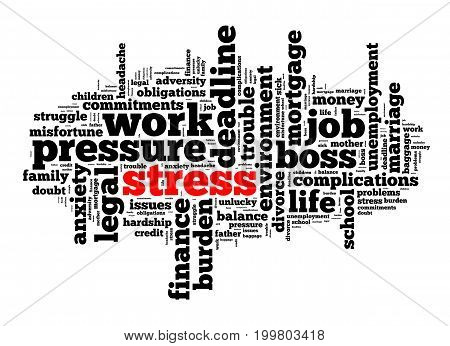 Stress word cloud text concept over white background