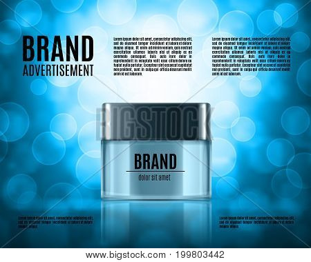 Cosmetic ads template. Realistic cosmetic bottle on a background with bokeh elements. Design for ads or magazine. 3d illustration. EPS10 vector