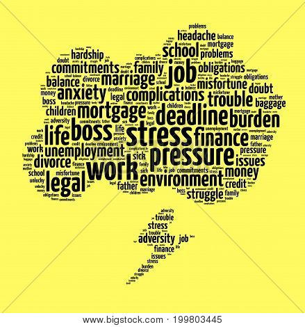 Stress word cloud text concept over yellow background