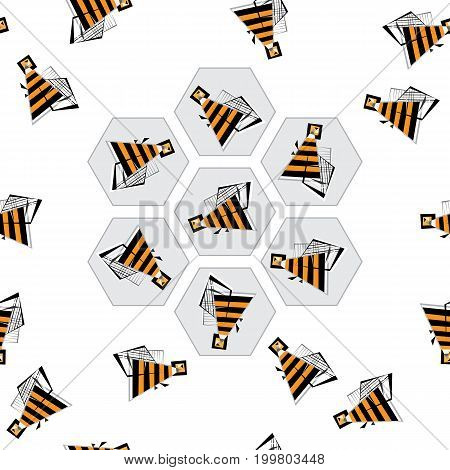 Beez and honeycombs pattern. Abstract bee vector background. Stylized buzz seamless texture for wallpaper, wrapping, textile design, surface texture, fabric.