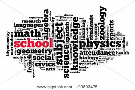 School word cloud text concept over white background