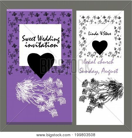wedding invitation card suite with flower Templates. save the date cards. flower vertical banners concept vector design.Lavender