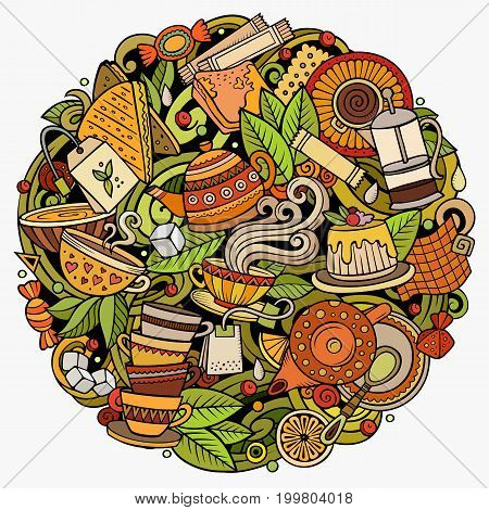 Cartoon vector doodles Tea illustration. Colorful, detailed, with lots of objects background. All objects separate. Bright colors Cafe funny round picture