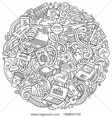 Cartoon vector doodles Travel illustration. Line art, detailed, with lots of objects background. All objects separate. Contour drawing traveling funny round picture