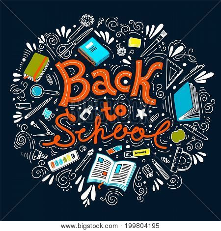 Stationery collection. Outline style. Back to school thin line vector doodle illustration template. Sketchy vector concepts with stationery for graphic design, web banner and printed materials. Back to school. Writing materials.