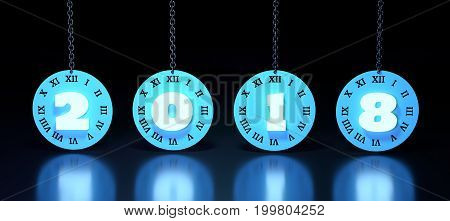 2018 number on clock face with Roman numerals hanging from a chain. 3D rendering