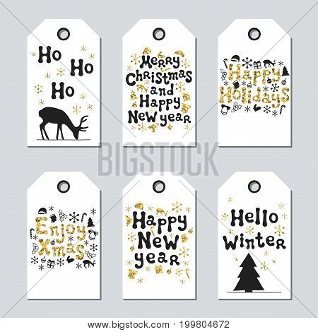 Christmas and New Year gift tags. Cards xmas gold set. Hand drawn element. Collection of holiday paper label in black and white. Seasonal badge sale design. Golden texture. Print. Vector illustration